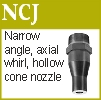 Axial whirl, hollow cone, injector nozzle