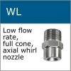 Low flow rate whirl nozzles for moistening