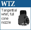 Tangential whirl nozzles for spray injection