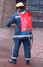 Flexible backpack fire extinguisher