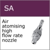 Spiral air, 3 stage air atomising high flow rate nozzle