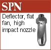 Narrow angle deflector fan nozzle for lubrication