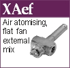 Flat fan, air atomising, external mix nozzle
