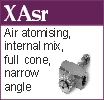 XAsr air atomising, full cone, internal mix narrow spray angle nozzle