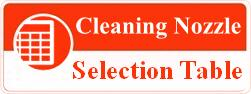 Cleaning Nozzle Selection Table