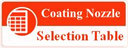 coating nozzle selection table