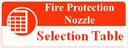 fire protection nozzle selection table