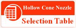 Hollow Cone Nozzle Selection table