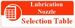 Lubrication nozzle selection table