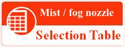 mist nozzle selection table